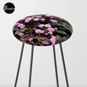 Pink Flowers Bar Stool