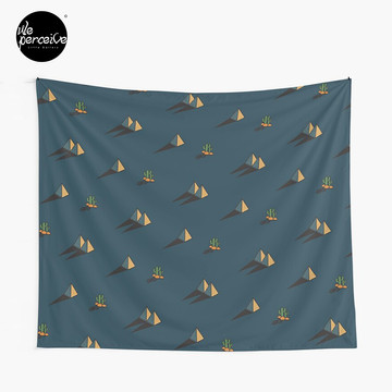 NIGHT - Egypt pyramid and cactus pattern in DARK BLUE Tapestry