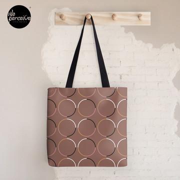Minimal Circle Pattern in Mocha Tote Bag