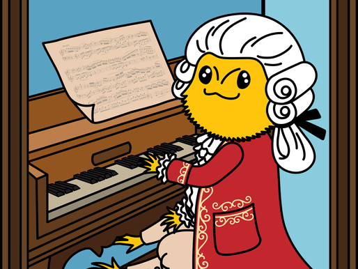 Bearded Dragon Illustration with Wolfgang Amadeus Mozart Cosplay