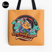 Japanese Style Bearded Dragon Deluxe Pomade Illustration Tote Bag in Yellow