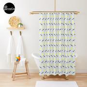 Geometric pattern - simple, black, grey, yellow Shower Curtain