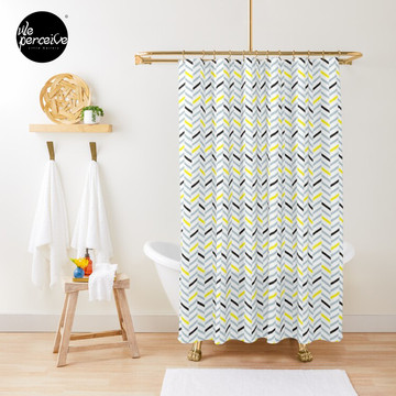 Geometric pattern - simple, black, grey, yellow Shower Curtain
