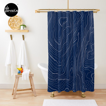 Psychology things - Maslow's HIERARCHY of NEEDS - Dark Blue Shower Curtain