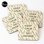 KEEP CALM AND GO VINTAGE Coasters (Set of 4)