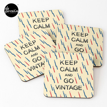 KEEP CALM AND GO VINTAGE Coasters (Set of 4)