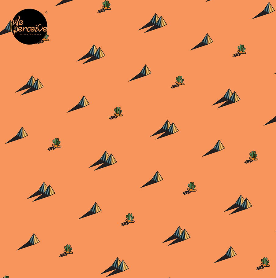 Egypt day and night pyramid and cactus pattern on orange background