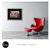 Harmonic collage art piece framed print
