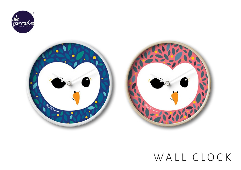 Adorable owl collection wall clocks in pink and blue