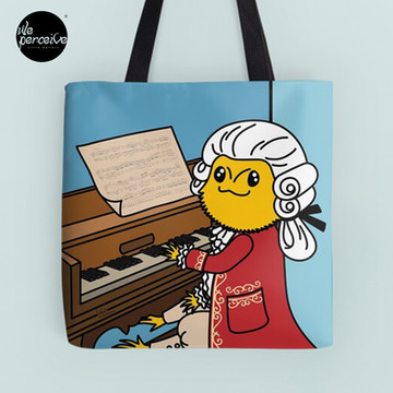 Bearded Dragon Illustration with Wolfgang Amadeus Mozart Cosplay Tote Bag