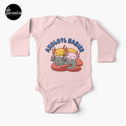 AXOLOTL WAVE Style 2 - We are the CUTEST CREATURE in the Water World Baby Long Sleeve One-Piece in Pink