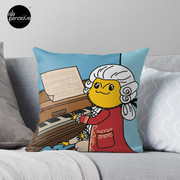 Bearded Dragon Illustration with Wolfgang Amadeus Mozart Cosplay Throw Pillow