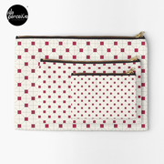 Hong Kong restaurant style - red and white VINTAGE floor tile Zipper Pouch