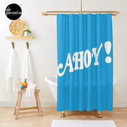 AHOY - Energetic and Positive Style in Sky Blue Shower Curtain