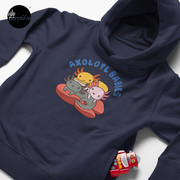 AXOLOTL WAVE Style 2 - We are the CUTEST CREATURE in the Water World Toddler Pullover Hoodie in Dark Blue