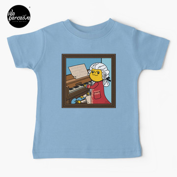 Bearded Dragon Illustration with Wolfgang Amadeus Mozart Cosplay Baby T-Shirt