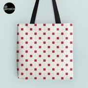 Hong Kong restaurant style - red and white VINTAGE floor tile Tote Bag