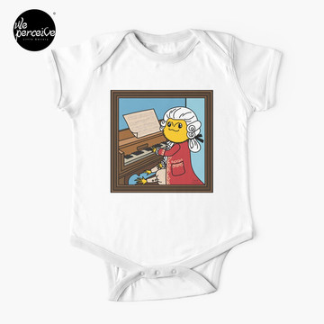 Bearded Dragon Illustration with Wolfgang Amadeus Mozart Cosplay Baby One-Piece in white