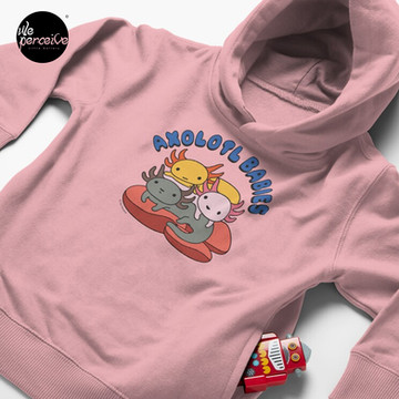 AXOLOTL WAVE Style 2 - We are the CUTEST CREATURE in the Water World Toddler Pullover Hoodie in Pink