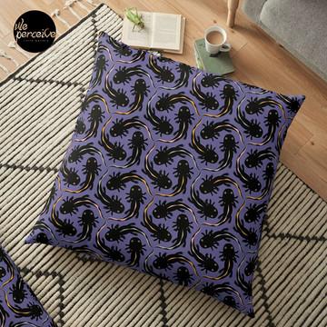 WE LOVE M.C. ESCHER style - Axolotl symmetrical pattern Floor Pillow