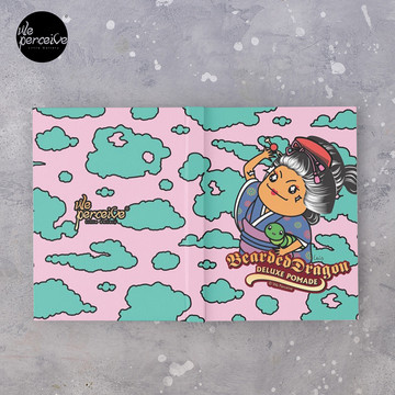 Japanese Style Bearded Dragon Deluxe Pomade Cartoon Hardcover Journal