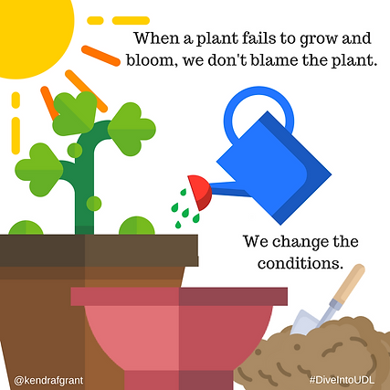 Potted plant shown with watering can pouring water on it. Caption reads: When a plant fails to grow and bloom, we don't blame the plant. We change the conditions.