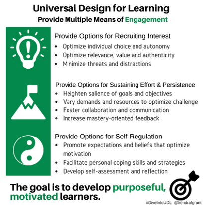 Universal Design for Learning: Provide multiple means of Engagement. Long description available by following the link.