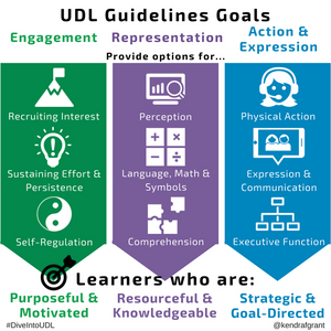 The UDL Guidelines are made up of three principles - Engagement: providing options for recruiting interest, sustaining effort and persistence and self-regulation; Representation: providing options for perception, language math and symbols and comprehension; and Action and Expression: providing options for physical action, expression and communication and executive function. The goal is to help develop learners who are purposeful and motivated, resourceful and knowledgeable and strategic and goal-oriented. In other words expert learners.
