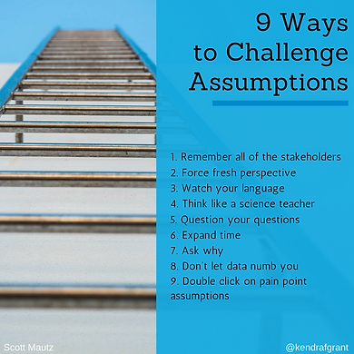 Looking up at a ladder. Text reads: 9 ways to challenge assumptions. Long description availabl through link.