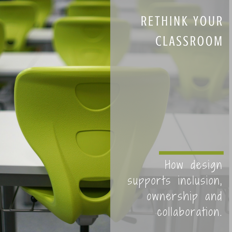 Chairs in rows in a classroom. Image Text: Rethink your classroom: How design supports inclusion, ownership and collaboration.