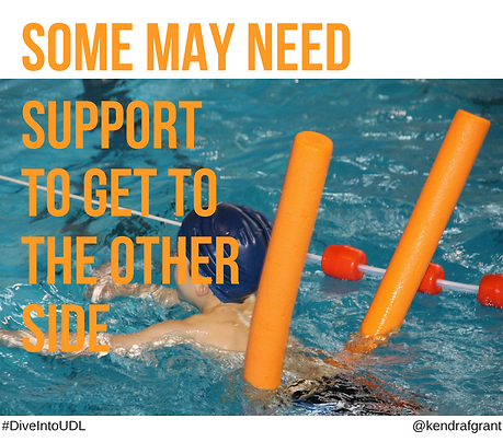 Young swimmer uses a pool noodle for support. Text reads: Some many need support to ge to the other side.