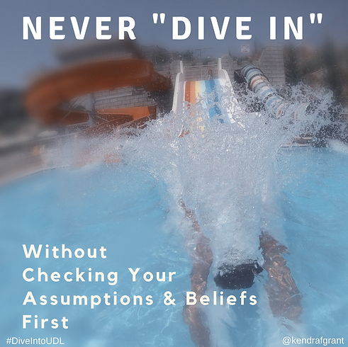 """Person diving into the water from  water slide at an amusement park. Text reads: Never """"dive in"""" without checking your assumpions and beliefs first."""