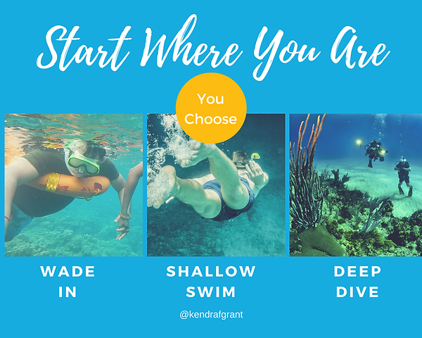 Title: Start Where You Are - You Chose: Three images - Wade In: Swimmer with a life ring, swimming on the surface of the ocean. Shallow Swim: Swimmer with snorkel, swimming just under the surface of the water. Deep Dive: Image of scuba drivers on the bottom of the ocean, near a reef.