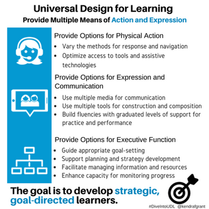 Universa Design for Learning: Provide multiple means of Action and Expression. Long description available by following the link.