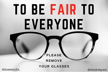 Glasses on top of a book. Caption reads: to be fair to everyone, please remove your glasses.