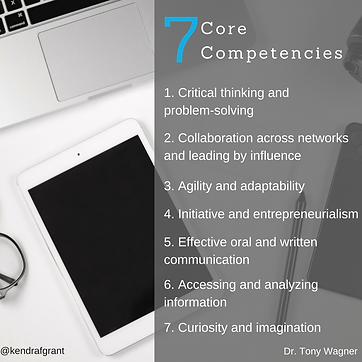 Overhead shot of laptop, tablet and paper and pen. Text reads: 7 Core competencies according to Dr. Tony Wagner (listed in surrounding text).