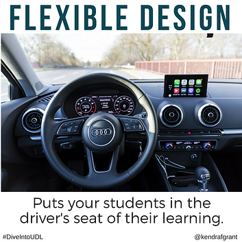 Driver's view shows steering wheel and dashboard mounted touchscreen to the righ of it. Caption reads: Flexible Design puts your studets in the driver's seat of their learning.