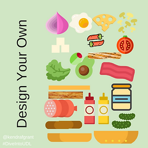 The various ingredients for a hamburger. Text reads: Design your own.