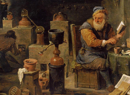 Encuentro hermético: diálogo entre un alquimista y un astrólogo.
