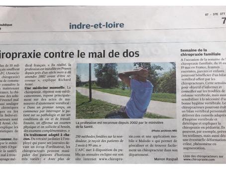 La Chiropraxie dans La Nouvelle République !
