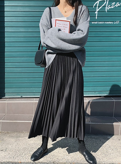 Pleats banding skirt