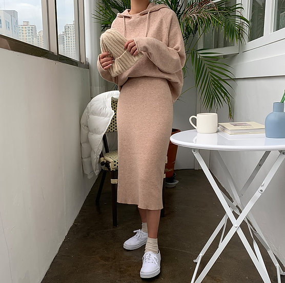 Maple hoodie+skirt set