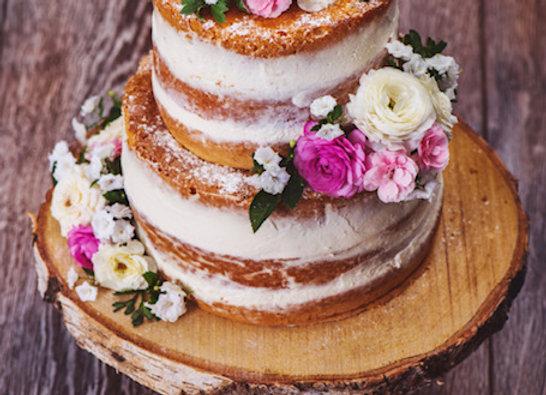Wedding Cake 2 tier - Semi-Naked Icing