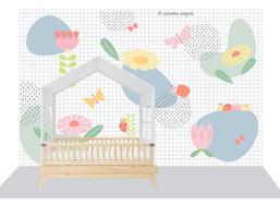 Painel adesivo Flores Geo