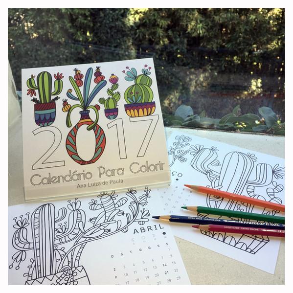 calendario colorir 2017