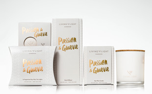 Living Light Candles packaging design