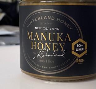 Hinterland manuka honey label