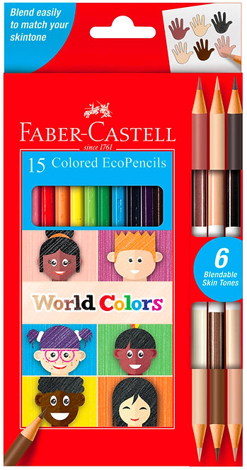 World Colors - 15 Colored EcoPencils - Special Skin Tones Included