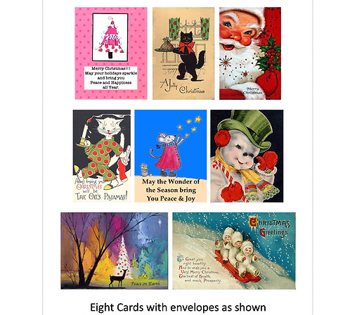 Assorted Christmas Greeting Cards Boxed Set of 8