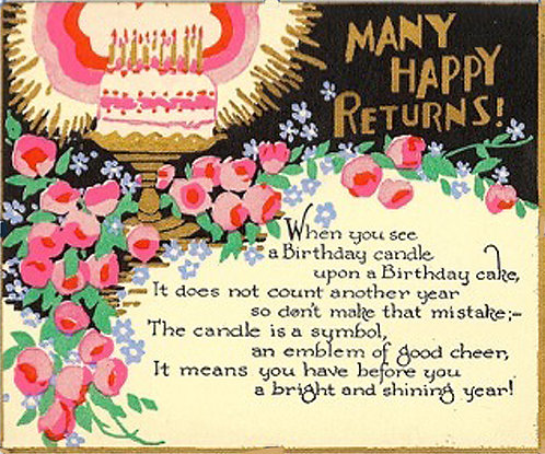 Birthday Card - Many Happy Returns